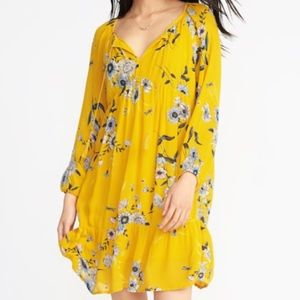 Yellow floral long sleeve dress